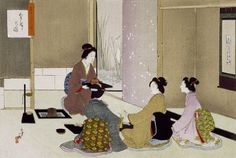 Print of The Tea Ceremony, by Mizuno Toshikata from the Victoria and Albert Museum