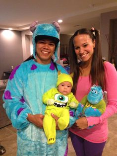 Monsters inc. family halloween costume. Sulley Mike u0026 Boo !  sc 1 st  Pinterest & Mike Wazowski Celia and Boo costumes from Monsters Inc. DIY | Letu0027s ...