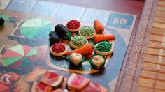 Hand made tokens for Dungeon Petz                      11 meat  14 vegetables  30 manure  20 suffering tokens  first player token  8 mutat...
