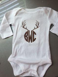 Deer Antler Monogrammed Onsie & Toddler by HornesMonogramming