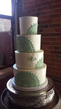 Green Lace Wedding Cake