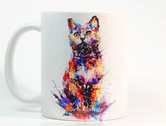 Cat coffee mug, Cat mug Watercolor Mug, Coffee Cup, Tea Cup, Gift for her, Gift for him, Printed mug, Ceramic mug
