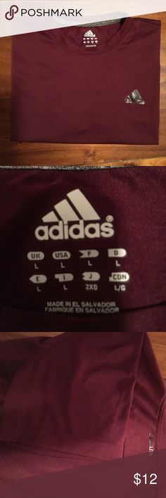 Adidas climalite Armpit to armpit is 20 inches. From shoulder to end of shirt is 26 inches. Short sleeve. adidas Shirts