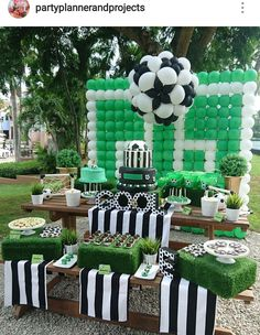 Soccer Theme Birthday Party Dessert Table and Decor