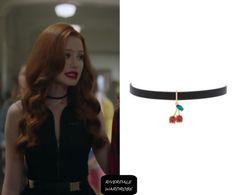 "Cheryl Blossom wears this Kate Spade ""Ma Chérie"" cherry choker on Riverdale 2x07"