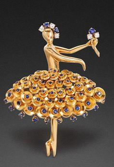"GOLD, SAPPHIRE AND DIAMOND ""BALLERINA"" CLIP, VAN CLEEF & ARPELS, CIRCA 1945 Sotheby's"