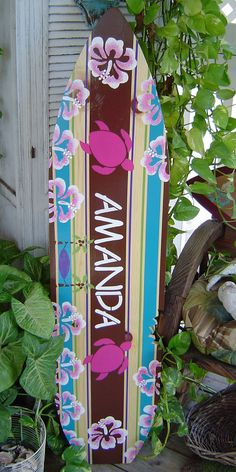 4FT SURFBOARD. All Hand Painted.  Tropical Hawaiian wall art decor on Etsy-Get It personalized for party or use as sign in board