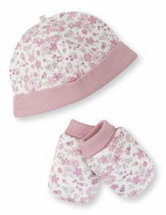 Pure Cotton Floral Hat & Mittens Set-Marks & Spencer