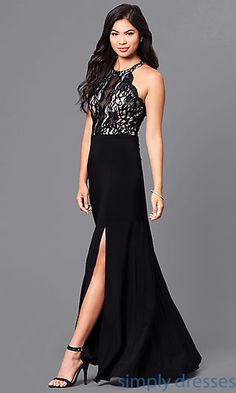 Shop cheap long black prom dresses at Simply Dresses. Affordable prom dresses under $100 with black lace, nude bodices, and high necklines.