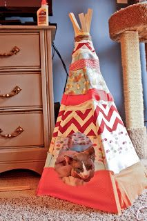 DIY Cat Teepee. My cat is so getting this for her birthday! ...I swear I'm not a crazy cat lady. :P