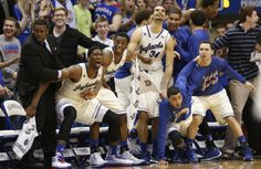 The Kansas bench reacts with disbelief after a dunk by forward Tarik Black sent the fieldhouse into a frenzy during the second half on Saturday, Feb. 22, 2014 at Allen Fieldhouse. #KU