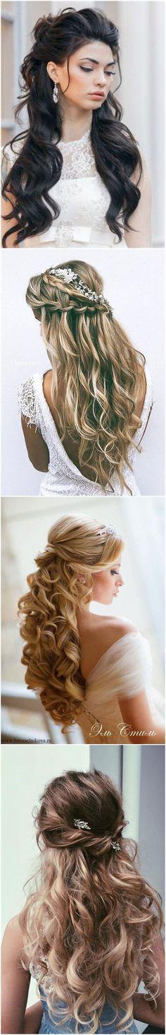 Half up half down curl hairstyles – partial updo wedding ...