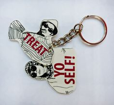 Treat Yo Self Double Keychain by PeachyApricot on Etsy, $8.00  #treatyoself #parksandrec #donnameagle #tomhaverford #keychain