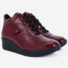 Pantofi sport bordo din piele naturala Raksha