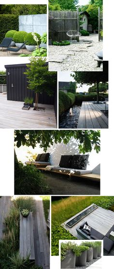 Deck, modern shapes, boxwoods, love it all.