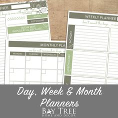 Day, Week & Month Planner {Free Printable} Planning ahead always leads to the best results, let us help you to the top.