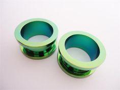 Green Steel Flesh Tunnels (14 gauge - 5/8 inch)
