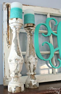 Spring Monogram Mantle | A Diamond in the Stuff. I thought they were candlesticks, but they are really spindles being used as candlestick holders! I love them!