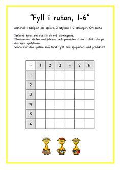 Fyll i rutan 2 Multiplication Worksheets, Math Games, Maths, Math Lessons, Social Platform, Mathematics, Fun Activities, Stencil, Teacher