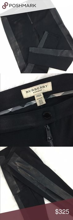 """Burberry Black Leggings w/ Leather Near perfect condition! I wore these twice, and sadly they no longer fit the way they deserve to. Runs true to size for a slim, super flattering fit. Invisible zippers at hems, front zipper, soft leather accents on outside of legs. Best quality, a true designer staple for your wardrobe! Rise 10"""", Inseam 30"""". Burberry Pants"""