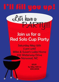 Red Solo Cup Couples Shower Invitation / Solo Cup Party / Beer Party / Keg Party  Beer by ashspartyinspiration on Etsy, $10.00