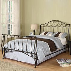 @Overstock - The Camelia queen-size sleigh metal bed is a unique and elegant piece of bedroom furniture. This bed features classic cast iron scrollwork and a sleigh style. http://www.overstock.com/Home-Garden/Camelia-Queen-size-Metal-Sleigh-Bed/5065170/product.html?CID=214117 $251.09