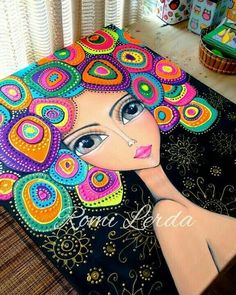 Pointillism, Dotillism, Dot Art, Mandala Art, on a frame.Beautiful painting of girl with multi colored hair by Romi LerdaCould be done with Quilling Mandala Art, Mandala Painting, Art Fantaisiste, Dot Art Painting, Fabric Painting, Art Pop, Inspiration Art, Whimsical Art, African Art
