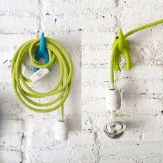 Textile cable lamp with switch and plug blue par lacasadecoto