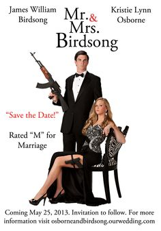 Engagement photo / wedding invitations. Inspired by Mr and Mrs Smith
