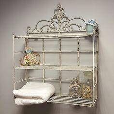 Shabby Chic Vintage Wall Shelf Storage Unit Display Metal Rack Bathroom Kitchen