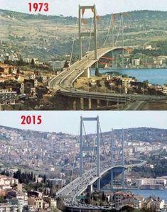İstanbul Boğazı'nın nasıl talan edildiğinin resmidir… Bu fotoğrafın biri Boğaziçi Köprüsünün açıldığı 1973 yılına ait.. Diğeri ise 2015 yılına ait.. Bu 2 fotoğraf İstanbul Boğazı'nın nasıl talan edildiğini anlatmaktadır..