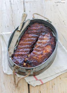 Las costillas de cerdo al horno con salsa barbacoa