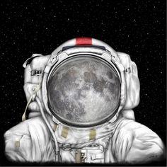 Scientific Illustration Canvas Prints - Astronaut Moon Canvas Print by Tharsis Artworks Astronauts In Space, Framed Prints, Canvas Prints, Space Theme, Outer Space, Artsy Fartsy, Art Inspo, Fine Art America, Illustration Art