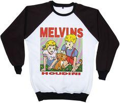 Melvins Buzz Osborne Houdini  Punk Rock and Roll Festival Retro  2 Tones Jumper Sweater Sweatshirt Long Sleeve Crewneck Round neckline S M L