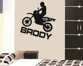 Wall Decal Dirt Bike Personalized Boys Name Vinyl Sticker Word Art Lettering Bluestreak Decals