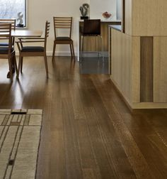 "White Oak Hardwood Flooring in Manhattan - Mill Direct. This is our quarter and rift sawn White Oak with Minwax ""Special Walnut"" stain. Walnut Floors, White Oak Floors, Walnut Stain, Dark Walnut, Hardwood Floor Colors, Hardwood Floors, Wide Plank Flooring, Oak Flooring, Flooring Ideas"