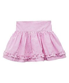 Look what I found on #zulily! Pink Seersucker Ruffle-Accent Pleated Skirt - Kids