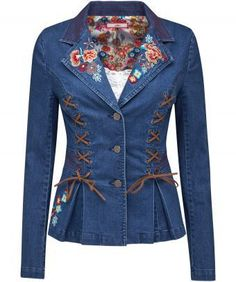 Here's a denim jacket that's totally unique. With suedette lace up detail, bright embroidery and fabulous floral lining, it's packed full of personality. Approx Length: Our model is: Cami sold separately Denim Fashion, Leather Fashion, Womens Fashion, Jackets For Women, Clothes For Women, Ladies Jackets, Mode Jeans, Denim Ideas, Denim Coat