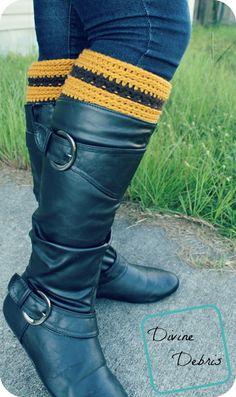 Striped Crocheted Boot Cuffs_2 ~ easy ~ FREE CROCHET pattern