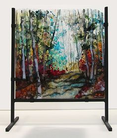 Before the Fall, Kiln fired glass freestanding panel by Alice Benvie Gebhart