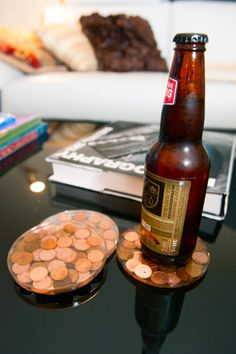 These coasters add just the right touch of copper to a table.