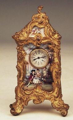 Rare! Antique Austrian Vienna Enamel & Gilt Bronze Miniature Mantle Clock, C.1870