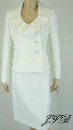 Evan Picone Vanilla Pleated Collar Jacket Blazer Skirt Suit Size 8 $200 New 7291 #EvanPicone #SkirtSuit
