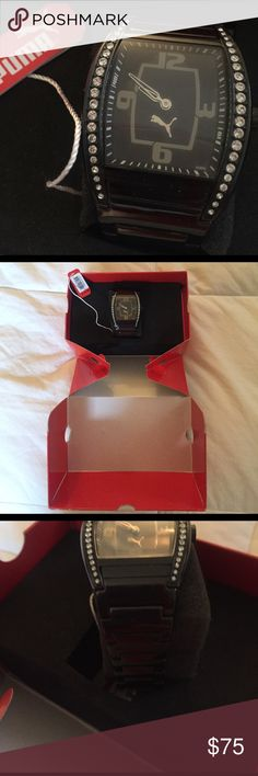 Black crystal puma watch Gorgeous ladies watch needs battery See pics Accessories Watches