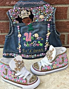 The denim vest is embroidered and blinged with hundreds of multi colored frosty pearls and high quality glass crystals. It has a gold crown embellishment for th Bedazzled Shoes, Bling Shoes, Baby Bling, Camo Baby, Baby Girl Shoes, Girls Shoes, Fashion Kids, Diy Fashion, Petite Fashion