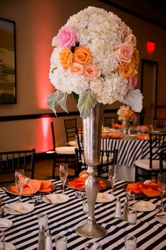 Peach and navy striped wedding - reception decor