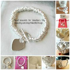 Valentine's Day Gifts - A collection of #heart bracelets. Unique - Beautiful - Timeless. Buy for someone you love today at www.etsy.com/shop/NikkiHillsDesign Sterling silver heart charm bracelets. Silver bead bracelets. Tiffany style/inspired. Personalized jewelry. Customized. Add a charm bracelets.