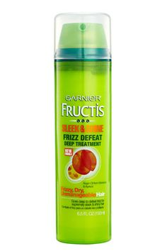 They say this is great to put in your hair before you work out.    Garnier Fructis Sleek & Shine Frizz Defeat Deep Treatment