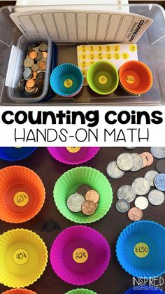 Counting Money Math Center - This reusable math center is a fun way to learn to count coins! Students practice counting coins and record their answers on the FREE recording sheet. Money skills are fun with these activities. Math For Kids, Fun Math, Math Games, Learning Games, Teaching Money, Teaching Math, Teaching Ideas, Money Activities, Preschool Activities