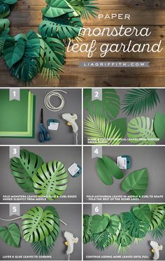 Get Your Party Sizzlin' with This Tropical Paper Leaf Garland! – – Hadi Pin Get Your Party Sizzlin' with This Tropical Paper Leaf Garland! – Get Your Party Sizzlin' with This Tropical Paper Leaf Garland! Leaf Garland, Diy Garland, Baloon Garland, Diy Deko Party, Fleurs Diy, Paper Leaves, Dinosaur Birthday Party, Safari Theme Birthday, Birthday Games For Adults